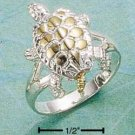 STERLING SILVER TWO TONE MOVEABLE TURTLE RING WITH 14K GOLD ACCENTS.