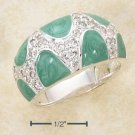 LOVELY STERLING SILVER ENAMEL GREEN AND PAVE CZ DESIGNER DOME RING.
