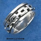 STERLING SILVER MENS ANTIQUED CHAIN LINK SPINNER BAND.