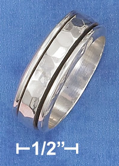 STERLING SILVER HP 9MM WIDE MENS SPINNER RING W/ HAMMERED MIDDLE