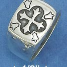 STERLING SILVER HIGH POLISH MENS 15MM SQUARE RING W/ CROSS