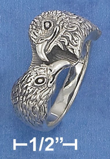 STERLING SILVER ANTIQUED HAWK HEADS RING