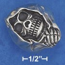 STERLING SILVER ANTIQUED MENS SKULL RING