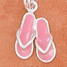 STERLING SILVER 10MM PINK ENAMEL PAIR OF SANDALS CHARM