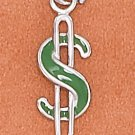 STERLING SILVER 6.5X18MM GREEN ENAMEL $ SIGN CHARM