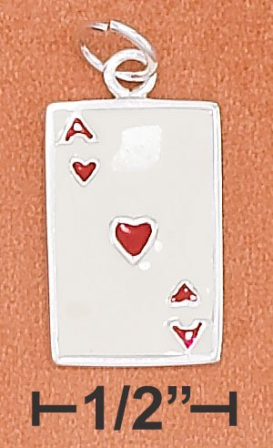 STERLING SILVER 17MM ENAMEL ACE OF HEARTS CARD CHARM