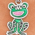 STERLING SILVER RP 11X16MM ENAMEL FROG CHARM WITH MOVEABLE HEAD & BODY