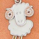 STERLING SILVER RP 13X17MM ENAMEL BIG HORN SHEEP CHARM