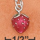 STERLING SILVER RP 3D ENAMEL 8X9MM STRAWBERRY CHARM