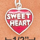 """STERLING SILVER 11MM FLAT ENAMEL RED HEART CHARM WITH """"SWEETHEART"""" ON BOTH SIDES"""