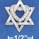 STERLING SILVER 16 X 18MM STAR OF DAVID PENDANT W/ CLEAR CZ HEART
