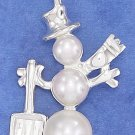 STERLING SILVER HP 29MM TRIPLE PEARL SNOWMAN CHARM
