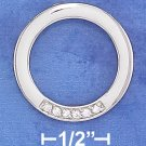 STERLING SILVER HP 23MM OPEN CIRCLE PENDANT W/ 6 CUBIC ZIRCONIA