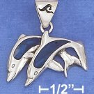 STERLING SILVER 16X25M DBL JUMPING DOLPHINS W/ PAUA SHELL INLAY  ON 18 IN CHAIN
