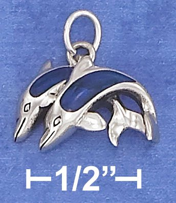 STERLING SILVER 11X16MM DOUBLE JUMPING DOLPHINS WITH PAUA SHELL INLAY CHARM