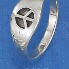 STERLING SILVER HIGH POLISH 8MM TAPERED SINGLE PEACE SIGN BAND