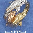 GORGEOUS STERLING SILVER TRI-COLOR GOLD PLTD TRIPLE DOLPHIN RING .
