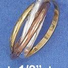 STERLING SILVER 14K GP 2MM TRIPLE BAND TRI-COLOR SLIDE RING