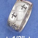 STERLING SILVER 8MM CONTINUOUS STAMPED FLEUR DE LIS RING .