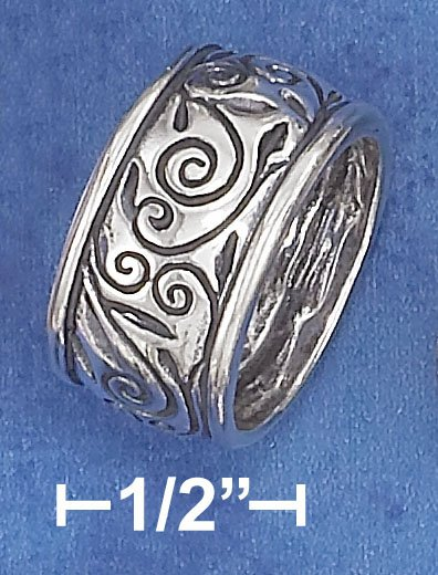 STERLING SILVER 11MM WIDE FANCY SCROLLED VINE BAND.