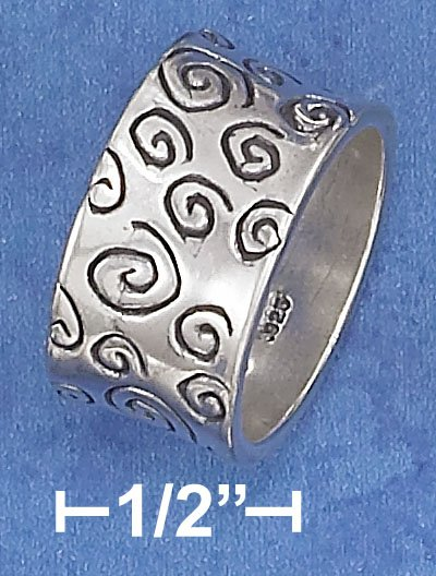 STERLING SILVER HP 11MM BAND WITH ANTIQUED CIRCULAR SCROLL MARKS