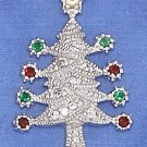 STERLING SILVER 18 X 28MM CZ TREE CHARM W/ 18 INCH STERLING SILVER BOX CHAIN.