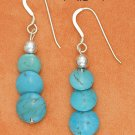 STERLING SILVER GRADUATED TURQUOISE DISC FRENCH WIRE EARRINGS