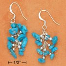 STERLING SILVER SMALL TURQUOISE NUGGET CLUSTER FRENCH WIRE EARRINGS
