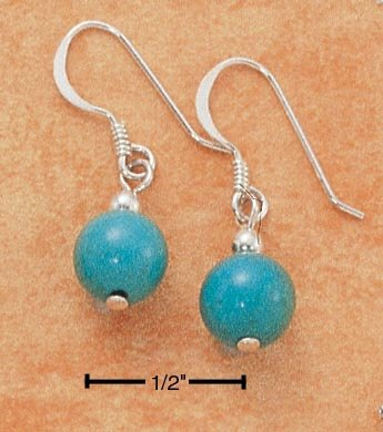 STERLING SILVER 6MM TURQUOISE BALL FRENCH WIRE EARRINGS