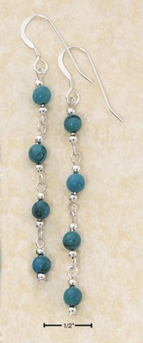 STERLING SILVER LONG LINK STRAND W/ FOUR, 4MM TURQUOISE BEADS DANGLE FW EARRINGS