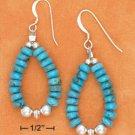 STERLING SILVER BLUE TQ RONDEL BEAD LOOP FW EARRINGS
