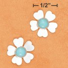STERLING SILVER 6MM TURQUOISE FLOWER POST EARRINGS