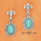 STERLING SILVER FANCY POST W/ OVAL TURQUOISE DANGLE EARRINGS