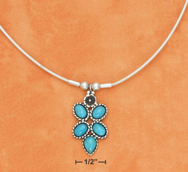 """STERLING SILVER 18"""" 1.5MM COIL NECKLACE WITH 5 TURQUOISE STONE PENDANT"""