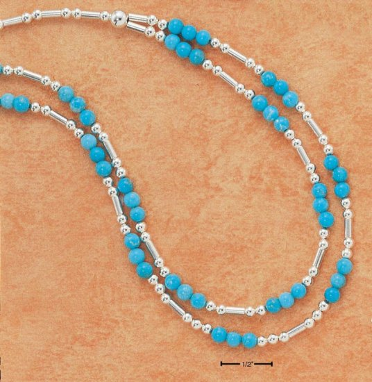 SILVER NECKLACE W/TURQUIOSE / BEADS / STERLING SILVER TUBES AND BALLS