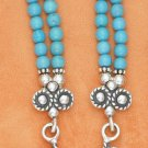 "STERLING SILVER 17-21"" 2 STRAND 4MM TURQUOISE BEAD NECKLACE"