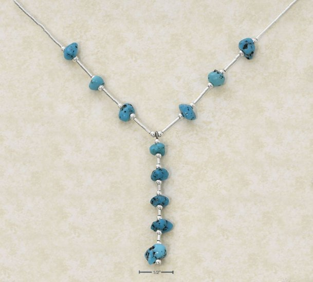"""16"""" LIQUID SILVER NECKLACE WITH TURQUOISE NUGGET DANGLE."""
