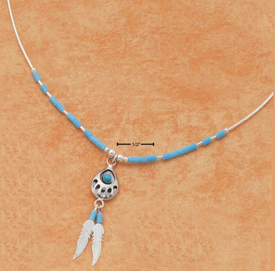 """STERLING SILVER 16"""" LIQUID SILVER NECKLACE W/ TURQUOISE BEARPAW & FEATHER"""