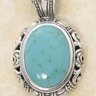 STERLING SILVER LG OVAL TURQUOISE  /18 INCH CHAIN