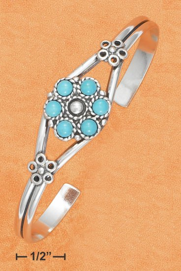 STERLING SILVER OPEN WIRE CUFF W/ TURQUOISE FLOWER DESIGN CENTER BRACELET