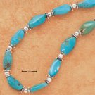 "STERLING SILVER 18"" TURQUOISE TUMBLE ROCK BEAD NECKLACE"