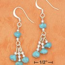 STERLING SILVER TURQUOISE NUGGET  TRIPLE DANGLE EARRINGS