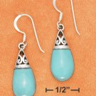 STERLING SILVER TURQUOISE  TEARDROP EARRINGS