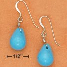 STERLING SILVER 10X14MM SMOOTH TURQUOISE TEARDROP EARRINGS