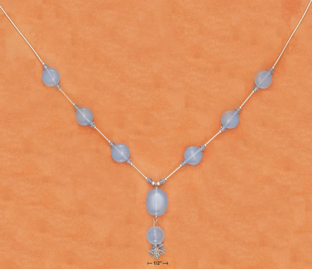 "STERLING SILVER 16"" LS ""Y""  BLUE CHALCEDONY NECKLACE"
