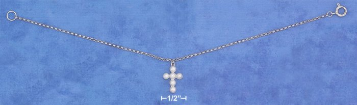 "STERLING SILVER 7.25"" PLATINUM PLATED ROLO BRACELET W/ PEARL CROSS DANGLE"