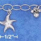 STERLING SILVER HP 7X5MM OVAL LINK CHARM BRACELET W/ SEALIFE CREATURES,