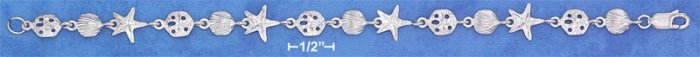 """STERLING SILVER RP 7"""" SMALL DC SAND DOLLAR STARFISH & SCALLOP SHELL LINK BRACELET"""