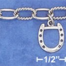 """STERLING SILVER RP 8""""   EQUESTRIAN CHARM BRACELET W/ TOGGLE"""