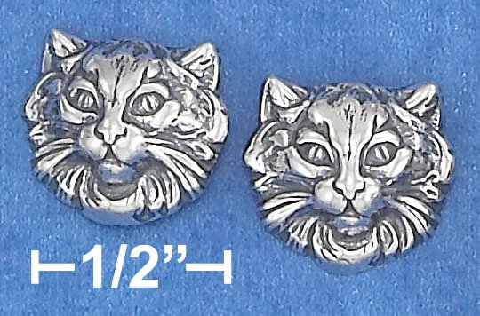 STERLING SILVER LARGE CAT FACE POST EARRINGS